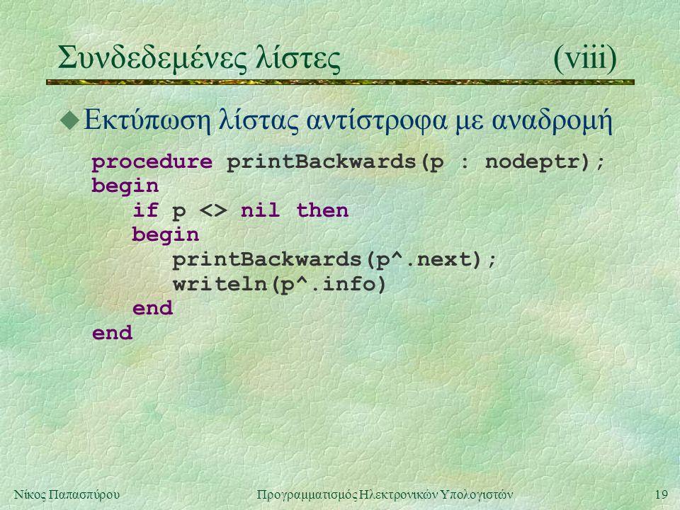 19Νίκος Παπασπύρου Προγραμματισμός Ηλεκτρονικών Υπολογιστών Συνδεδεμένες λίστες(viii) u Εκτύπωση λίστας αντίστροφα με αναδρομή procedure printBackwards(p : nodeptr); begin if p <> nil then begin printBackwards(p^.next); writeln(p^.info) end