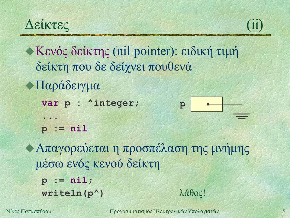 5Νίκος Παπασπύρου Προγραμματισμός Ηλεκτρονικών Υπολογιστών Δείκτες(ii) u Κενός δείκτης (nil pointer): ειδική τιμή δείκτη που δε δείχνει πουθενά u Παράδειγμα var p : ^integer;...
