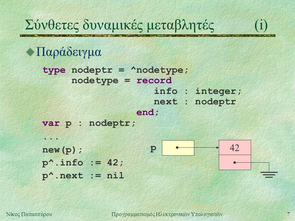 7Νίκος Παπασπύρου Προγραμματισμός Ηλεκτρονικών Υπολογιστών Σύνθετες δυναμικές μεταβλητές(i) u Παράδειγμα type nodeptr = ^nodetype; nodetype = record i