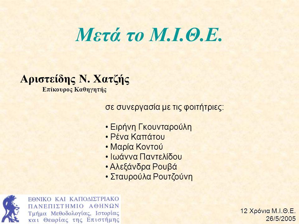 Μετά το Μ.Ι.Θ.Ε.Αριστείδης Ν. Χατζής Επίκουρος Καθηγητής 12 Χρόνια Μ.Ι.Θ.Ε.