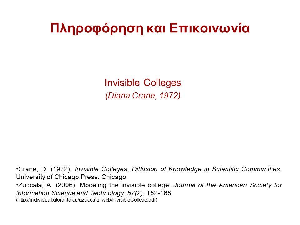 Πληροφόρηση και Επικοινωνία Invisible Colleges (Diana Crane, 1972) Crane, D.