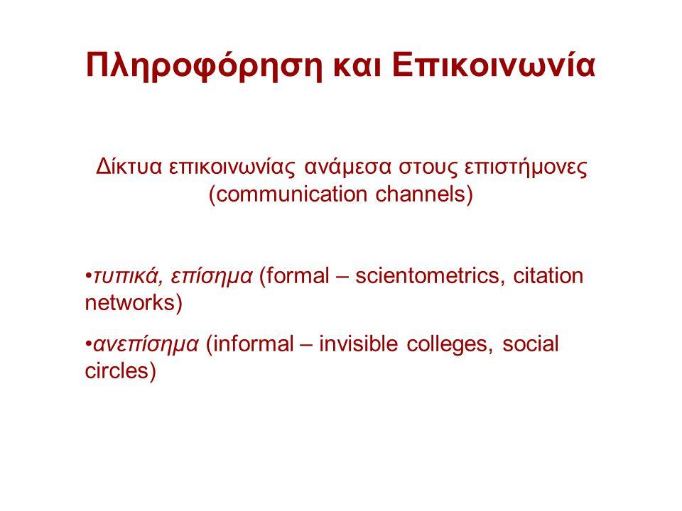Πληροφόρηση και Επικοινωνία Δίκτυα επικοινωνίας ανάμεσα στους επιστήμονες (communication channels) τυπικά, επίσημα (formal – scientometrics, citation networks) ανεπίσημα (informal – invisible colleges, social circles)