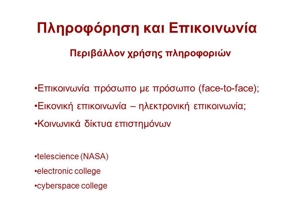 Πληροφόρηση και Επικοινωνία Περιβάλλον χρήσης πληροφοριών Επικοινωνία πρόσωπο με πρόσωπο (face-to-face); Εικονική επικοινωνία – ηλεκτρονική επικοινωνία; Κοινωνικά δίκτυα επιστημόνων telescience (NASA) electronic college cyberspace college