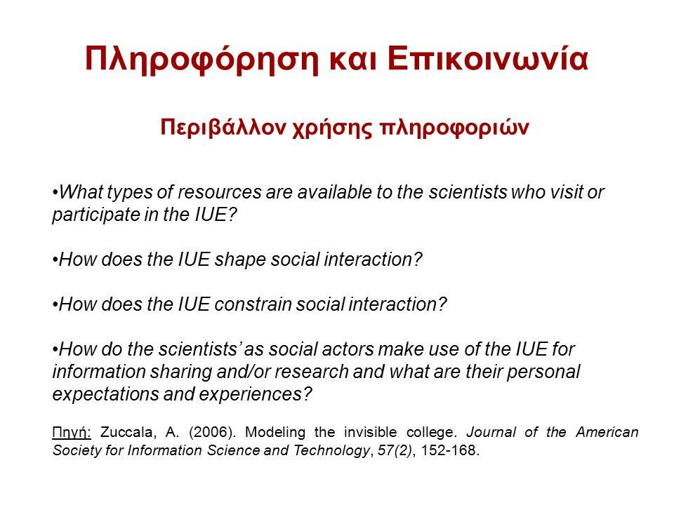 Πληροφόρηση και Επικοινωνία Περιβάλλον χρήσης πληροφοριών What types of resources are available to the scientists who visit or participate in the IUE.