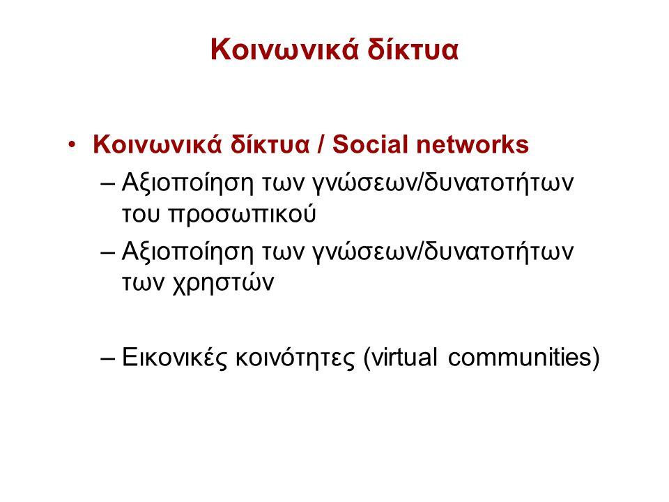 Κοινωνικά δίκτυα Κοινωνικά δίκτυα / Social networks –Αξιοποίηση των γνώσεων/δυνατοτήτων του προσωπικού –Αξιοποίηση των γνώσεων/δυνατοτήτων των χρηστών –Εικονικές κοινότητες (virtual communities)