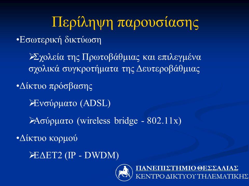 Εσωτερική δικτύωση  Σχολεία της Πρωτοβάθμιας και επιλεγμένα σχολικά συγκροτήματα της Δευτεροβάθμιας Δίκτυο πρόσβασης  Ενσύρματο (ADSL)  Ασύρματο (wireless bridge - 802.11x) Δίκτυο κορμού  ΕΔΕΤ2 (IP - DWDM) Περίληψη παρουσίασης ΠΑΝΕΠΙΣΤΗΜΙΟ ΘΕΣΣΑΛIΑΣ ΚΕΝΤΡΟ ΔΙΚΤΥΟΥ ΤΗΛΕΜΑΤΙΚΗΣ