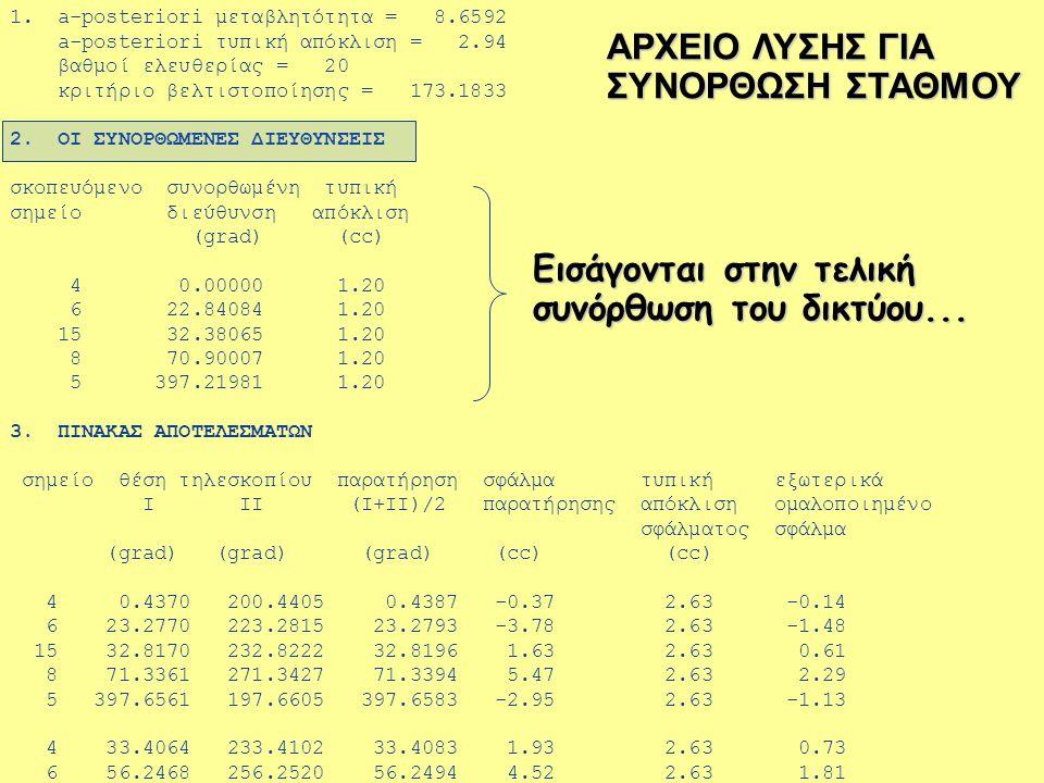 Ασκήσεις Υπαίθρου (8 ο εξάμηνο) ΤΑΤΜ  ΑΠΘ Τομέας Γεωδαισίας & Τοπογραφίας Οριζόντιο Δίκτυο Προ-επεξεργασία παρατηρήσεων 2.«Συνόρθωση σταθμού» για τις οριζόντιες αποστά- σεις που μετρούνται από κάθε σημείο του δικτύου μέσω υπολογισμού της μέσης τιμής των αντίστοιχων επαναλαμβανόμενων μετρήσεων από κάθε σημείο σκόπευσης  Υπολογισμός βέλτιστης τιμής για κάθε παρατήρηση απόστασης στο δίκτυο (...μέσω υπολογισμού της μέσης τιμής των αντίστοιχων επαναλαμβανόμενων μετρήσεων από κάθε σημείο σκόπευσης) υπολογισμός της τυπικής απόκλισης του μέσου όρου του δείγματος των πρωτογενών επαναλαμβανόμενων παρατηρήσεων  Υπολογισμός της ακρίβειας για κάθε βέλτιστη «συνορθωμένη» απόσταση (δηλ.