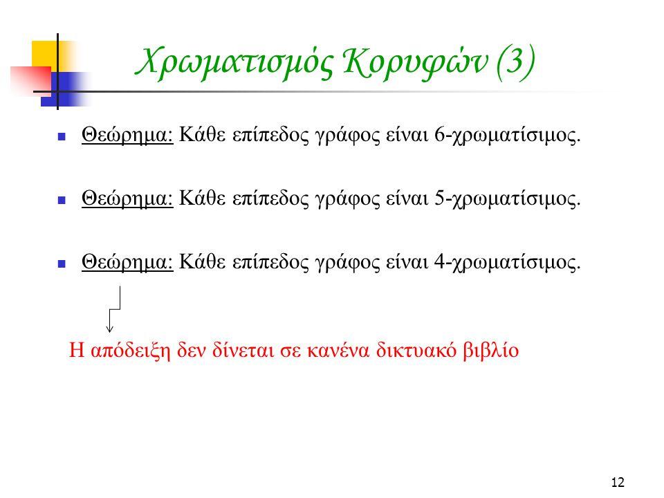 12 Χρωματισμός Κορυφών (3) Θεώρημα: Κάθε επίπεδος γράφος είναι 6-χρωματίσιμος.