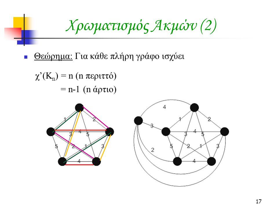17 Χρωματισμός Ακμών (2) Θεώρημα: Για κάθε πλήρη γράφο ισχύει χ'(K n ) = n (n περιττό) = n-1 (n άρτιο)