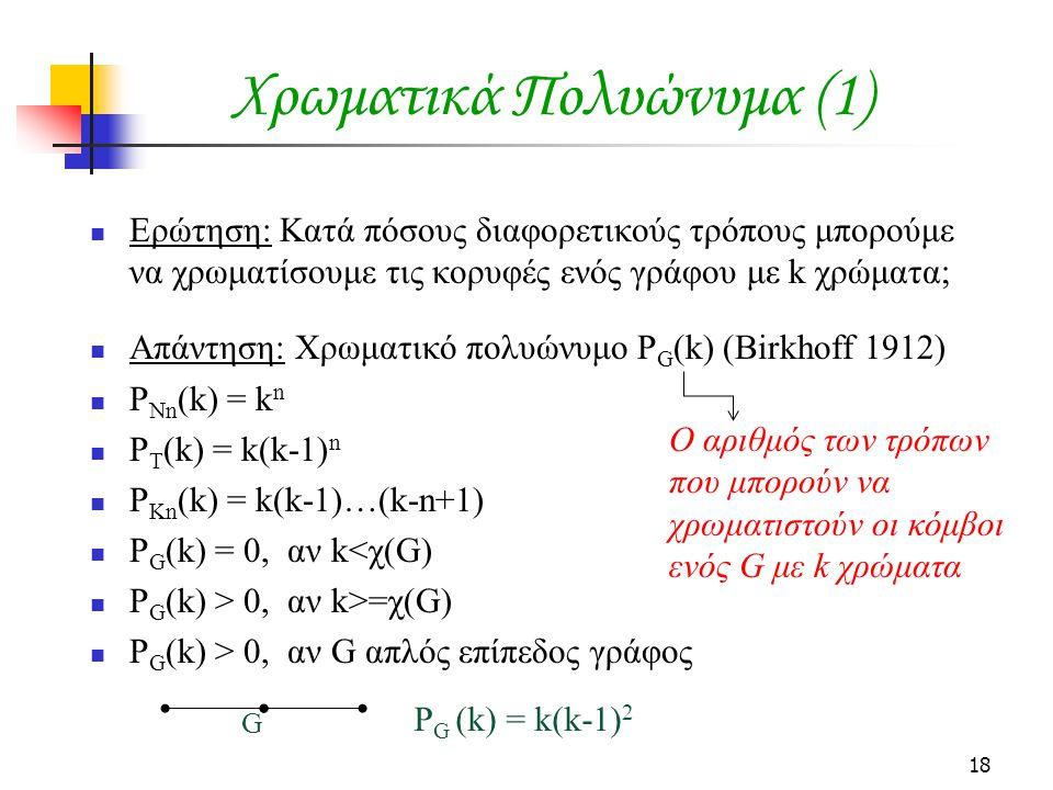 18 Χρωματικά Πολυώνυμα (1) Ερώτηση: Κατά πόσους διαφορετικούς τρόπους μπορούμε να χρωματίσουμε τις κορυφές ενός γράφου με k χρώματα; Απάντηση: Χρωματικό πολυώνυμο P G (k) (Birkhoff 1912) P Nn (k) = k n P T (k) = k(k-1) n P Kn (k) = k(k-1)…(k-n+1) P G (k) = 0, αν k<χ(G) P G (k) > 0, αν k>=χ(G) P G (k) > 0, αν G απλός επίπεδος γράφος Ο αριθμός των τρόπων που μπορούν να χρωματιστούν οι κόμβοι ενός G με k χρώματα G P G (k) = k(k-1) 2