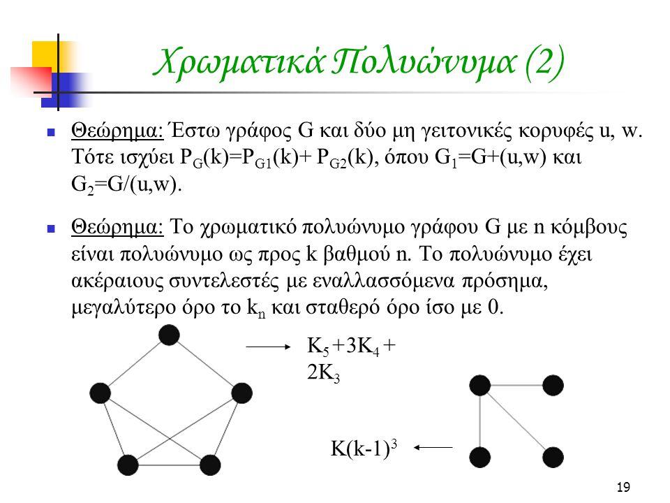 19 Χρωματικά Πολυώνυμα (2) Θεώρημα: Έστω γράφος G και δύο μη γειτονικές κορυφές u, w.