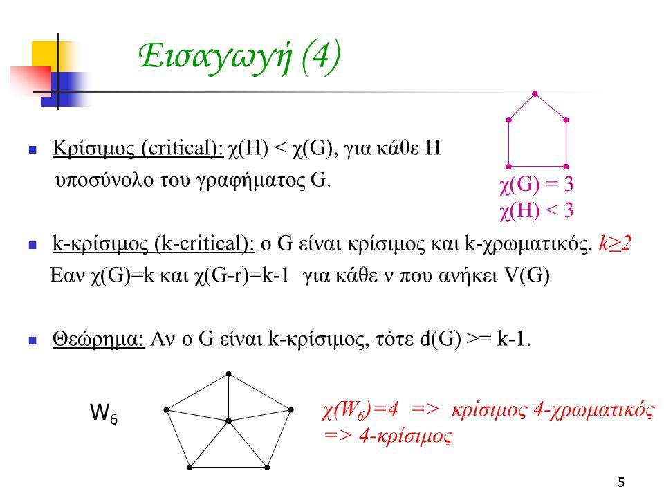 5 Εισαγωγή (4) Κρίσιμος (critical): χ(Η) < χ(G), για κάθε Η υποσύνολο του γραφήματος G.