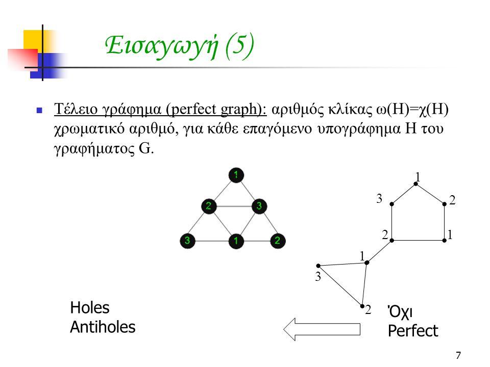 7 Εισαγωγή (5) Τέλειο γράφημα (perfect graph): αριθμός κλίκας ω(Η)=χ(Η) χρωματικό αριθμό, για κάθε επαγόμενο υπογράφημα Η του γραφήματος G.