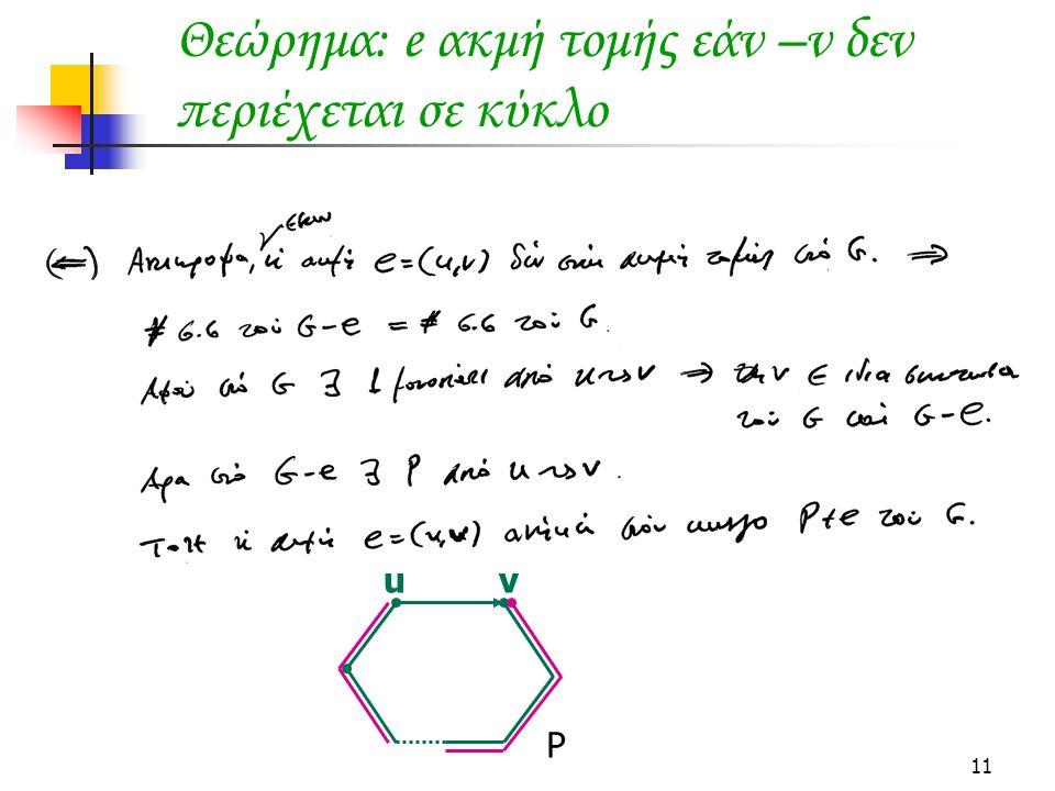 11 Θεώρημα: e ακμή τομής εάν –ν δεν περιέχεται σε κύκλο u v P