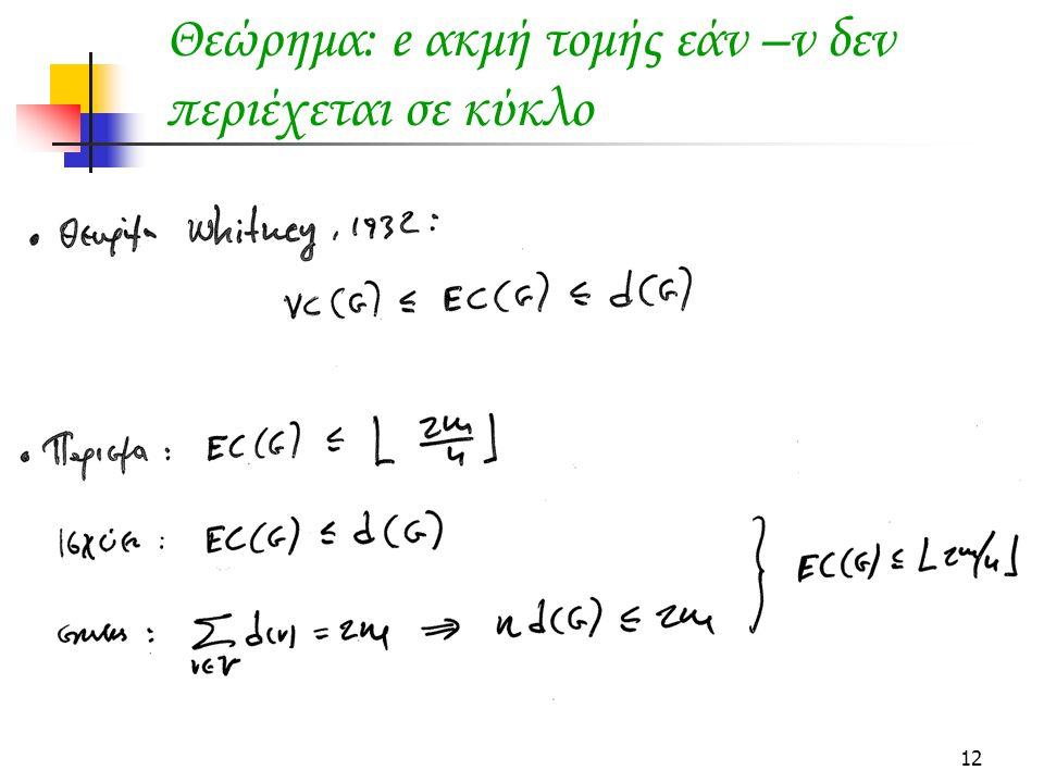 12 Θεώρημα: e ακμή τομής εάν –ν δεν περιέχεται σε κύκλο