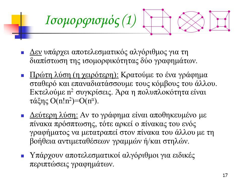 17 Ισομορφισμός (1) Δεν υπάρχει αποτελεσματικός αλγόριθμος για τη διαπίστωση της ισομορφικότητας δύο γραφημάτων. Πρώτη λύση (η χειρότερη): Κρατούμε το