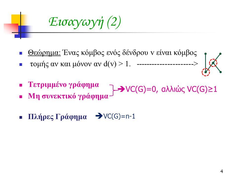 Θεώρημα: Ένας κόμβος ενός δένδρου v είναι κόμβος τομής αν και μόνον αν d(v) > 1. ----------------------> Τετριμμένο γράφημα Μη συνεκτικό γράφημα Πλήρε