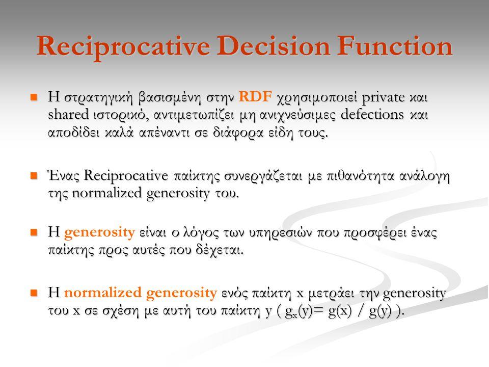 Reciprocative Decision Function Η στρατηγική βασισμένη στην χρησιμοποιεί private και shared ιστορικό, αντιμετωπίζει μη ανιχνεύσιμες defections και αποδίδει καλά απέναντι σε διάφορα είδη τους.