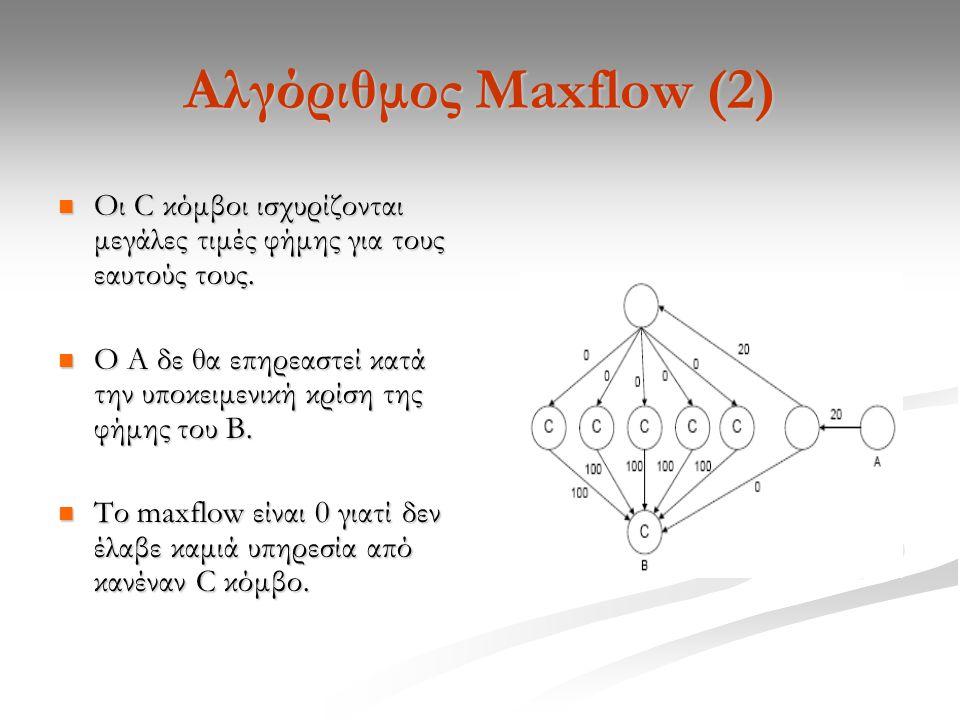 Αλγόριθμος Maxflow (2) Οι C κόμβοι ισχυρίζονται μεγάλες τιμές φήμης για τους εαυτούς τους.