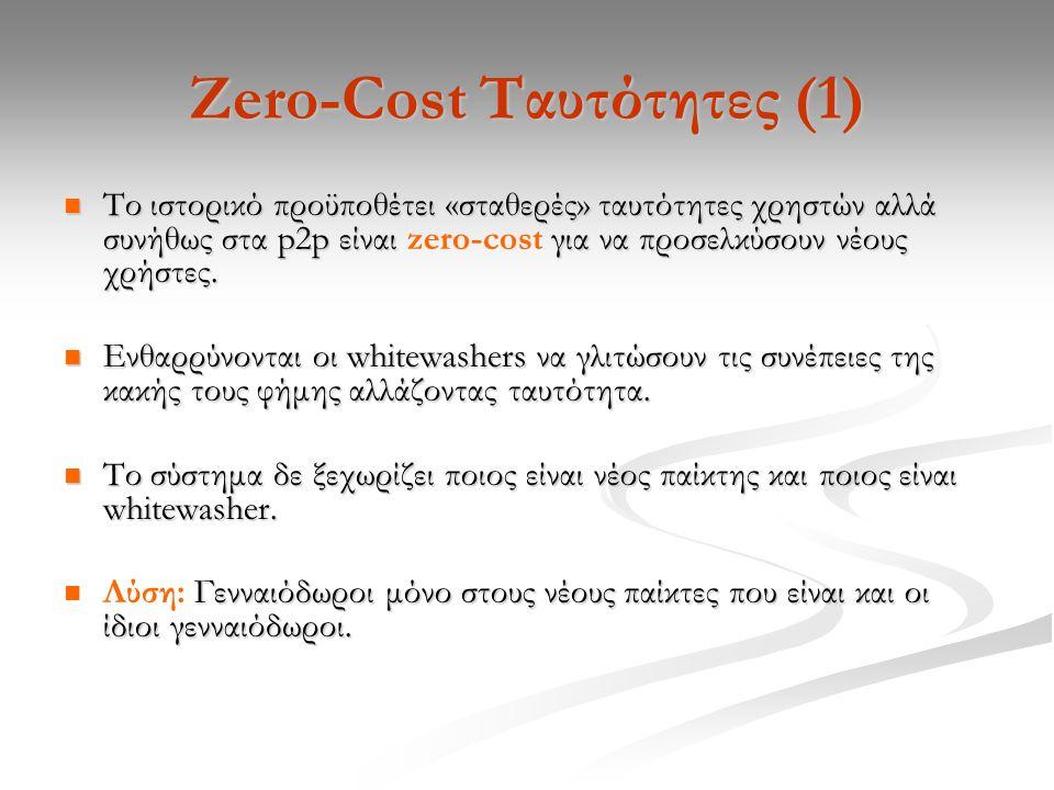 Zero-Cost Ταυτότητες (1) Το ιστορικό προϋποθέτει «σταθερές» ταυτότητες χρηστών αλλά συνήθως στα p2p είναι για να προσελκύσουν νέους χρήστες.