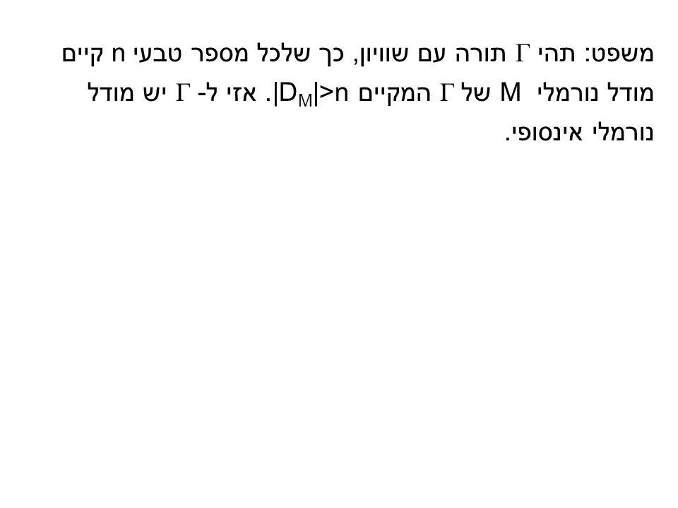 משפט: תהי Γ תורה עם שוויון, כך שלכל מספר טבעי n קיים מודל נורמלי M של Γ המקיים |D M |>n.