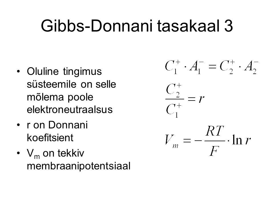 Gibbs-Donnani tasakaal 3 Oluline tingimus süsteemile on selle mõlema poole elektroneutraalsus r on Donnani koefitsient V m on tekkiv membraanipotentsiaal