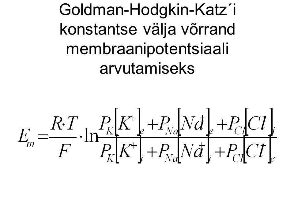Goldman-Hodgkin-Katz´i konstantse välja võrrand membraanipotentsiaali arvutamiseks