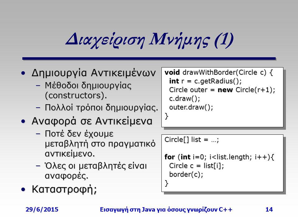 29/6/2015Εισαγωγή στη Java για όσους γνωρίζουν C++14 Διαχείριση Μνήμης (1) Δημιουργία ΑντικειμένωνΔημιουργία Αντικειμένων –Μέθοδοι δημιουργίας (constr