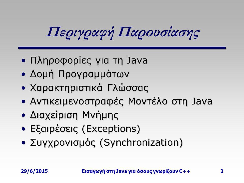 29/6/2015Εισαγωγή στη Java για όσους γνωρίζουν C++2 Περιγραφή Παρουσίασης Πληροφορίες για τη JavaΠληροφορίες για τη Java Δομή ΠρογραμμάτωνΔομή Προγραμμάτων Χαρακτηριστικά ΓλώσσαςΧαρακτηριστικά Γλώσσας Αντικειμενοστραφές Μοντέλο στη JavaΑντικειμενοστραφές Μοντέλο στη Java Διαχείριση ΜνήμηςΔιαχείριση Μνήμης Εξαιρέσεις (Exceptions)Εξαιρέσεις (Exceptions) Συγχρονισμός (Synchronization)Συγχρονισμός (Synchronization)