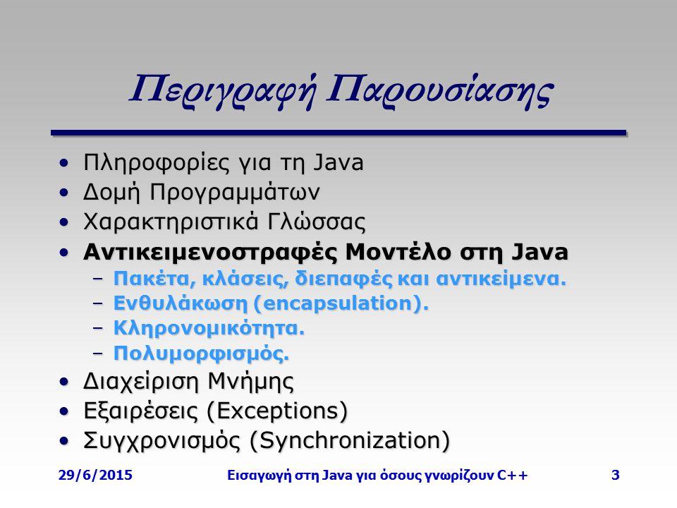 29/6/2015Εισαγωγή στη Java για όσους γνωρίζουν C++3 Περιγραφή Παρουσίασης Πληροφορίες για τη JavaΠληροφορίες για τη Java Δομή ΠρογραμμάτωνΔομή Προγραμμάτων Χαρακτηριστικά ΓλώσσαςΧαρακτηριστικά Γλώσσας Αντικειμενοστραφές Μοντέλο στη JavaΑντικειμενοστραφές Μοντέλο στη Java –Πακέτα, κλάσεις, διεπαφές και αντικείμενα.
