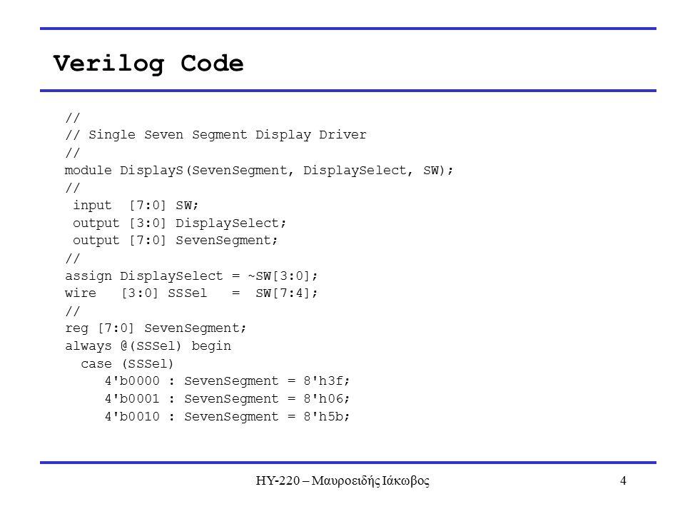 ΗΥ-220 – Μαυροειδής Ιάκωβος4 Verilog Code // // Single Seven Segment Display Driver // module DisplayS(SevenSegment, DisplaySelect, SW); // input [7:0] SW; output [3:0] DisplaySelect; output [7:0] SevenSegment; // assign DisplaySelect = ~SW[3:0]; wire [3:0] SSSel = SW[7:4]; // reg [7:0] SevenSegment; always @(SSSel) begin case (SSSel) 4 b0000 : SevenSegment = 8 h3f; 4 b0001 : SevenSegment = 8 h06; 4 b0010 : SevenSegment = 8 h5b;
