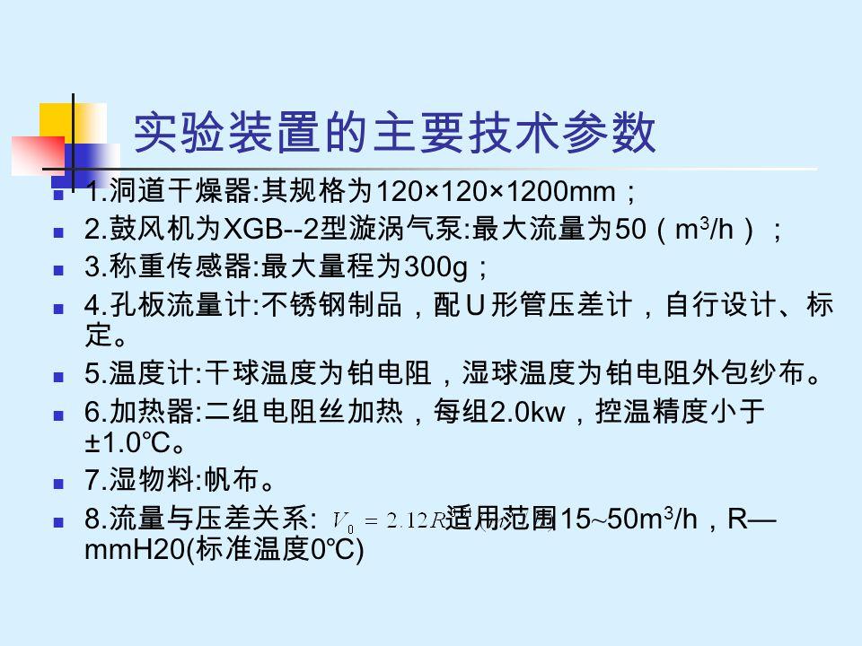 实验装置的主要技术参数 1. 洞道干燥器 : 其规格为 120×120×1200mm ; 2. 鼓风机为 XGB--2 型漩涡气泵 : 最大流量为 50 ( m 3 /h ); 3. 称重传感器 : 最大量程为 300g ; 4. 孔板流量计 : 不锈钢制品,配U形管压差计,自行设计、标 定。 5.