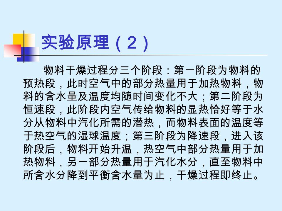 实验原理( 2 ) 物料干燥过程分三个阶段:第一阶段为物料的 预热段,此时空气中的部分热量用于加热物料,物 料的含水量及温度均随时间变化不大;第二阶段为 恒速段,此阶段内空气传给物料的显热恰好等于水 分从物料中汽化所需的潜热,而物料表面的温度等 于热空气的湿球温度;第三阶段为降速段,进入该 阶段后,