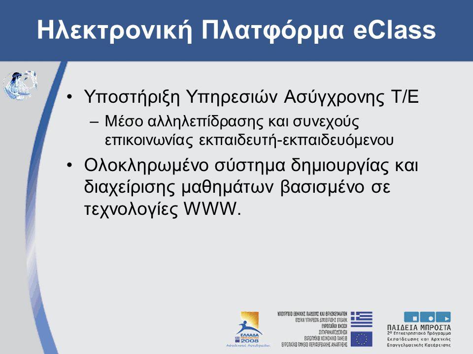 Ηλεκτρονική Πλατφόρμα eClass Υποστήριξη Υπηρεσιών Ασύγχρονης Τ/Ε –Μέσο αλληλεπίδρασης και συνεχούς επικοινωνίας εκπαιδευτή-εκπαιδευόμενου Ολοκληρωμένο σύστημα δημιουργίας και διαχείρισης μαθημάτων βασισμένο σε τεχνολογίες WWW.
