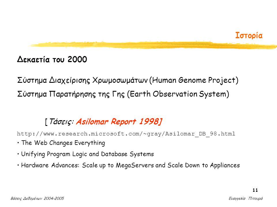 Βάσεις Δεδομένων 2004-2005 Ευαγγελία Πιτουρά 11 Ιστορία Δεκαετία του 2000 Σύστημα Διαχείρισης Χρωμοσωμάτων (Human Genome Project) Σύστημα Παρατήρησης της Γης (Earth Observation System) [Τάσεις: Asilomar Report 1998] http://www.research.microsoft.com/~gray/Asilomar_DB_98.html The Web Changes Everything Unifying Program Logic and Database Systems Hardware Advances: Scale up to MegaServers and Scale Down to Appliances