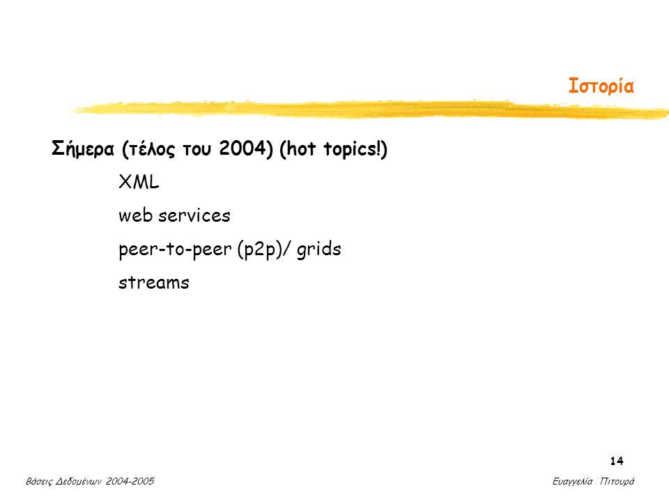 Βάσεις Δεδομένων 2004-2005 Ευαγγελία Πιτουρά 14 Ιστορία Σήμερα (τέλος του 2004) (hot topics!) XML web services peer-to-peer (p2p)/ grids streams