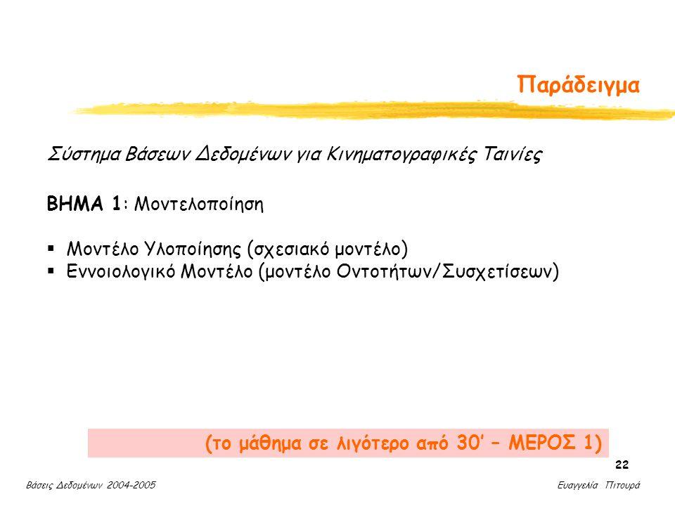 Βάσεις Δεδομένων 2004-2005 Ευαγγελία Πιτουρά 22 Παράδειγμα ΒΗΜΑ 1: Μοντελοποίηση  Μοντέλο Υλοποίησης (σχεσιακό μοντέλο)  Εννοιολογικό Μοντέλο (μοντέλο Οντοτήτων/Συσχετίσεων) Σύστημα Βάσεων Δεδομένων για Κινηματογραφικές Ταινίες (το μάθημα σε λιγότερο από 30' – ΜΕΡΟΣ 1)