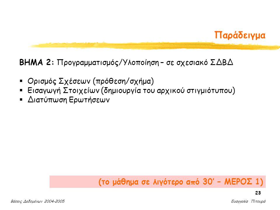 Βάσεις Δεδομένων 2004-2005 Ευαγγελία Πιτουρά 23 Παράδειγμα ΒΗΜΑ 2: Προγραμματισμός/Υλοποίηση – σε σχεσιακό ΣΔΒΔ  Ορισμός Σχέσεων (πρόθεση/σχήμα)  Εισαγωγή Στοιχείων (δημιουργία του αρχικού στιγμιότυπου)  Διατύπωση Ερωτήσεων (το μάθημα σε λιγότερο από 30' – ΜΕΡΟΣ 1)