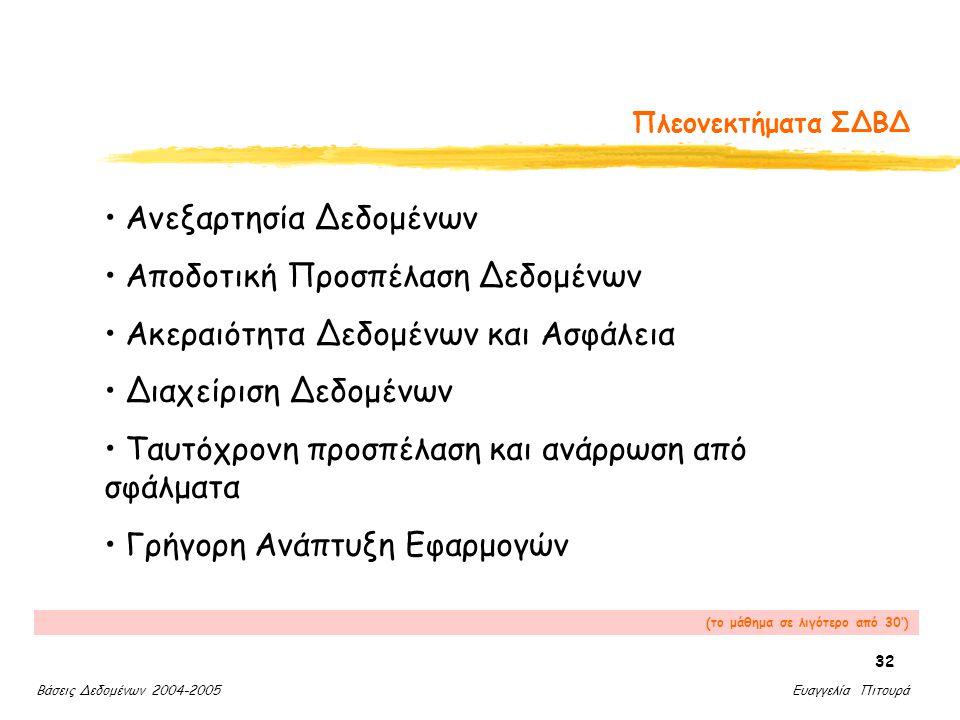 Βάσεις Δεδομένων 2004-2005 Ευαγγελία Πιτουρά 32 Πλεονεκτήματα ΣΔΒΔ Ανεξαρτησία Δεδομένων Αποδοτική Προσπέλαση Δεδομένων Ακεραιότητα Δεδομένων και Ασφάλεια Διαχείριση Δεδομένων Ταυτόχρονη προσπέλαση και ανάρρωση από σφάλματα Γρήγορη Ανάπτυξη Εφαρμογών (το μάθημα σε λιγότερο από 30')
