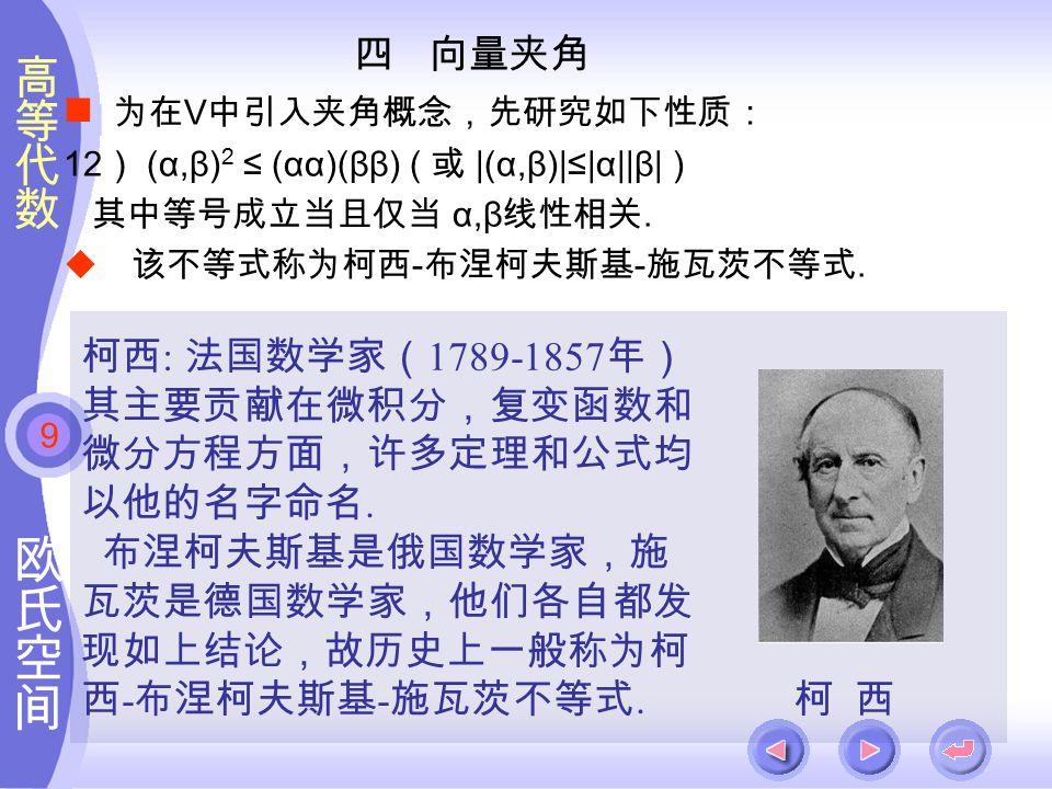9 四 向量夹角 为在 V 中引入夹角概念,先研究如下性质: 12 ) (α,β) 2 ≤ (αα)(ββ) ( 或 |(α,β)|≤|α||β| ) 其中等号成立当且仅当 α,β 线性相关.