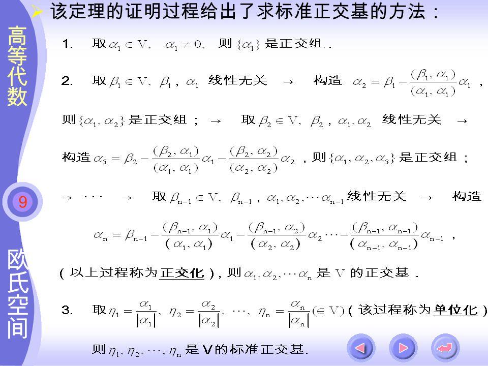 9  该定理的证明过程给出了求标准正交基的方法: