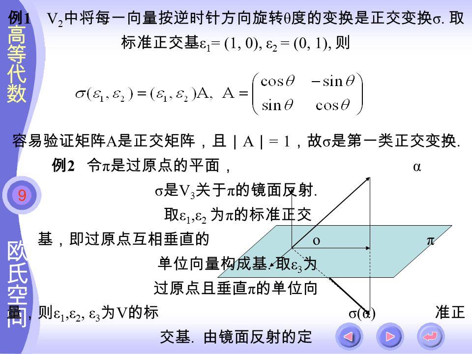9 例 1 V 2 中将每一向量按逆时针方向旋转 θ 度的变换是正交变换 σ.
