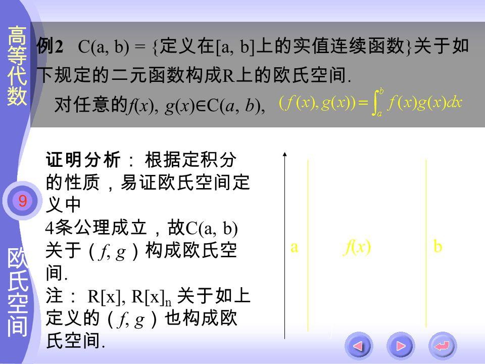 9 当 n ≥0 时,设 α 1,α 2,···,α n 与 β 1,β 2,···,β n 分别为 V 及 V / 的标准正 交基,则 f : α= x 1 α 1 +x 2 α 2 + ··· +x n α n → f(α) =β= x 1 β 1 +x 2 β 2 + ··· +x n β n 是线性空间 V 到 V / 的同构映射,且 取 γ= y 1 α 1 +y 2 α 2 + ··· +y n α n, 有 (α,γ) = x 1 y 1 + x 2 y 2 + ··· + x n y n = ( f (α), f (γ) ), 即 f 是欧氏空间 V 到 V / 的同构映射, V ≌ V /.