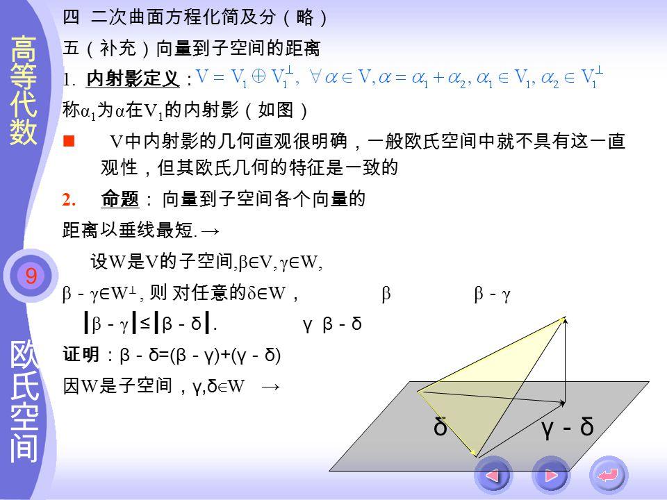 9 四 二次曲面方程化简及分(略) 五(补充)向量到子空间的距离 1.