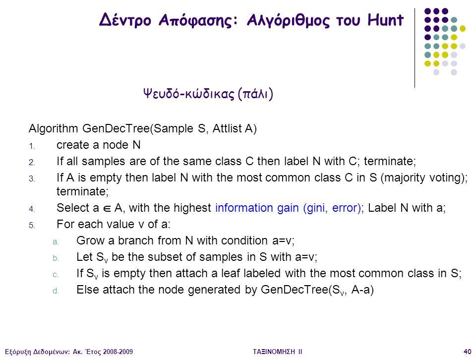 Εξόρυξη Δεδομένων: Ακ. Έτος 2008-2009ΤΑΞΙΝΟΜΗΣΗ IΙ40 Algorithm GenDecTree(Sample S, Attlist A) 1.