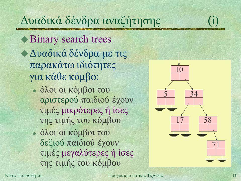 11Νίκος ΠαπασπύρουΠρογραμματιστικές Τεχνικές Δυαδικά δένδρα αναζήτησης(i) u Binary search trees u Δυαδικά δένδρα με τις παρακάτω ιδιότητες για κάθε κόμβο: l όλοι οι κόμβοι του αριστερού παιδιού έχουν τιμές μικρότερες ή ίσες της τιμής του κόμβου l όλοι οι κόμβοι του δεξιού παιδιού έχουν τιμές μεγαλύτερες ή ίσες της τιμής του κόμβου 10 534 58 71 17