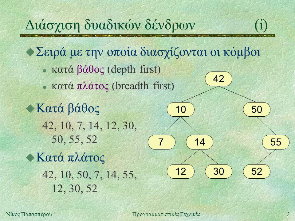 3Νίκος ΠαπασπύρουΠρογραμματιστικές Τεχνικές u Σειρά με την οποία διασχίζονται οι κόμβοι l κατά βάθος (depth first) l κατά πλάτος (breadth first) Διάσχιση δυαδικών δένδρων(i) 42 1050 755 523012 14 u Κατά βάθος 42, 10, 7, 14, 12, 30, 50, 55, 52 u Κατά πλάτος 42, 10, 50, 7, 14, 55, 12, 30, 52