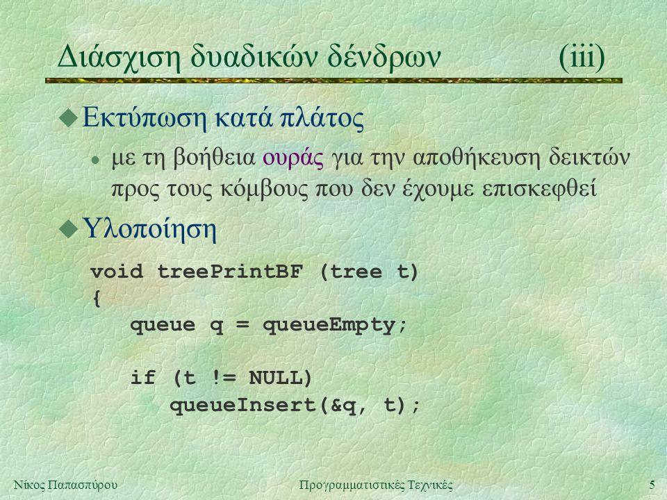 5Νίκος ΠαπασπύρουΠρογραμματιστικές Τεχνικές Διάσχιση δυαδικών δένδρων(iii) u Εκτύπωση κατά πλάτος l με τη βοήθεια ουράς για την αποθήκευση δεικτών προς τους κόμβους που δεν έχουμε επισκεφθεί u Υλοποίηση void treePrintBF (tree t) { queue q = queueEmpty; if (t != NULL) queueInsert(&q, t);