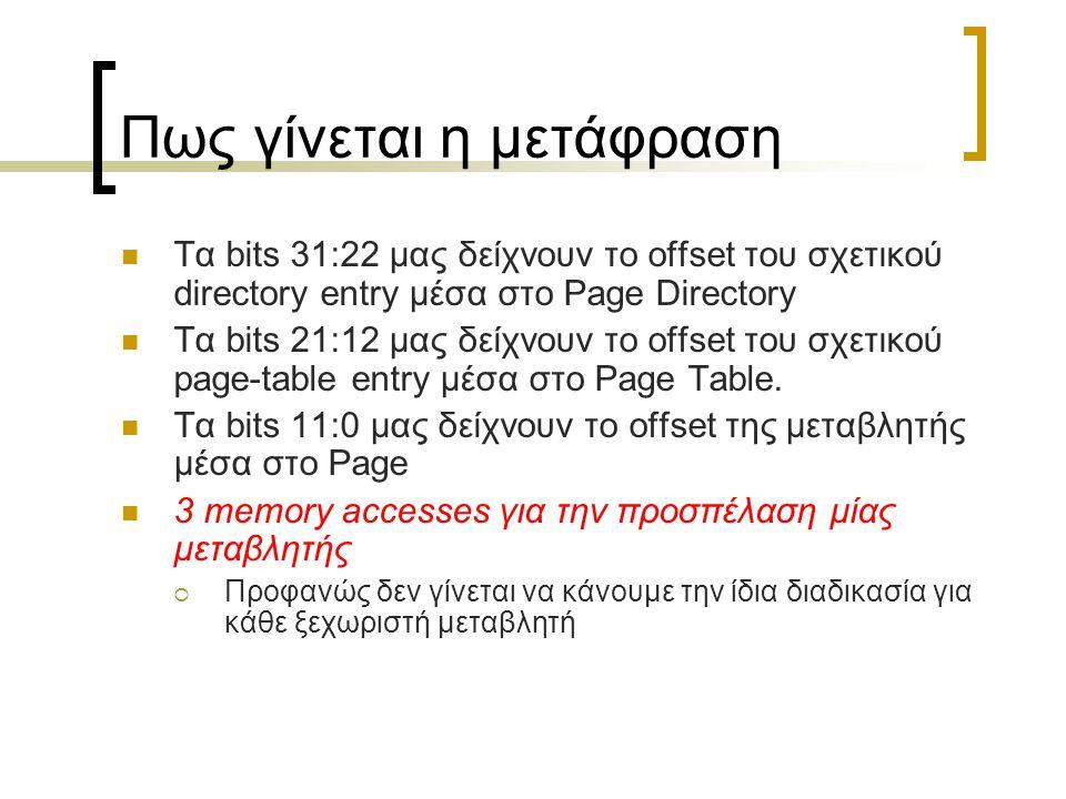 Πως γίνεται η μετάφραση Τα bits 31:22 μας δείχνουν το offset του σχετικού directory entry μέσα στο Page Directory Τα bits 21:12 μας δείχνουν το offset