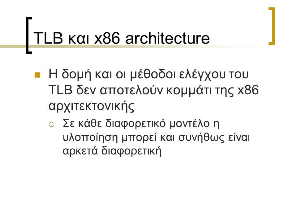 TLB και x86 architecture Η δομή και οι μέθοδοι ελέγχου του TLB δεν αποτελούν κομμάτι της x86 αρχιτεκτονικής  Σε κάθε διαφορετικό μοντέλο η υλοποίηση
